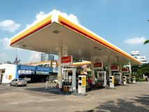 BANGKOK - OCT 24  Shell of gas station with blue sky background.  royalty free stock image