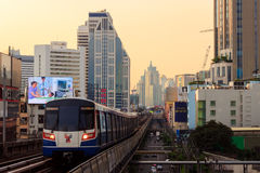 BANGKOK - OCTOBER 2014. Sky train view from Asok. Sky train view from Asok station Sukhumvit line showing street and high buildings in the background Royalty Free Stock Images