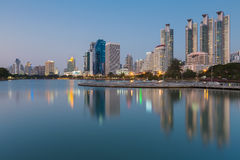 Bangkok office building water front and reflection view Royalty Free Stock Image