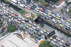 Bangkok city peak hour traffic jam Stock Photo