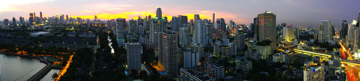 Bangkok Panorama. From Silom to Asok, across Queen Sirikit and Lumpini Parks Royalty Free Stock Image