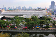 Bangkok panorama and central rail station, Thailand Royalty Free Stock Photos