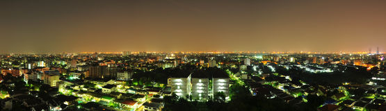 Bangkok Panorama at Night Stock Images