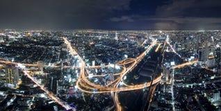 Bangkok panorama. A panoramic view of Bangkok by night stock image