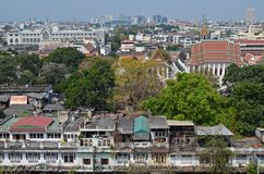 Bangkok panorama. View of bangkok, contrast between temples, skyscrapers and old houses of locals Stock Images