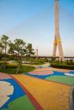 Bangkok Park Rama II Suspension Bridge stock images