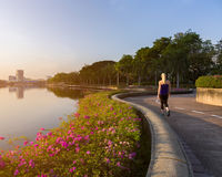 Bangkok park sunrise with women walking. A woman who walking in the public park while the sunrising with the warming tone Royalty Free Stock Image