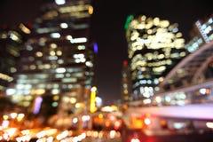 Bangkok pejzaż miejski przy mrocznym czasem, Zamazany fotografii bokeh obraz stock