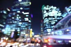 Bangkok pejzaż miejski przy mrocznym czasem, Zamazany fotografii bokeh obrazy royalty free