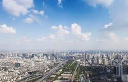 Bangkok pejzaż miejski Widok miasto od wysokiego budynku wewnątrz Obrazy Royalty Free