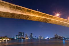 Bangkok pejzaż miejski. Bangkok rzeczny widok przy mrocznym czasem. Obrazy Royalty Free