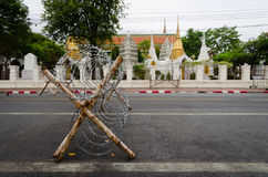 Bangkok protests. Barricades and barbed wire in front of the royal palace, during the 2014 protests Stock Photos