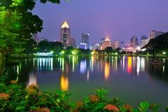 Bangkok przy nocą, Lumphini park Obraz Stock