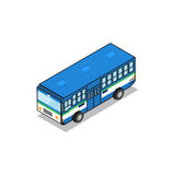 Bangkok public transportation blue bus isometric view pixel desi Royalty Free Stock Photo