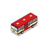 Bangkok public transportation red bus isometric view pixel desig Royalty Free Stock Photos
