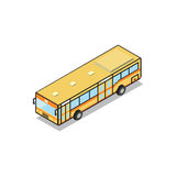Bangkok public transportation yellow aircondition bus isometric Royalty Free Stock Photos