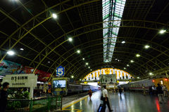 Bangkok Railway Station Hua Lamphong is built in 1916 in an Italian Neo-Renaissance style, with decorated wooden roofs and stain Royalty Free Stock Images