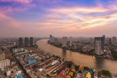Bangkok river curve during sunset Thailand Royalty Free Stock Photos