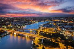 Bangkok river with sunset time from roof top of high building royalty free stock images