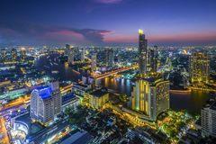 Bangkok Riverside At Night. Shoot From Top Of The Building royalty free stock photos