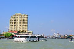 Bangkok Riverside Scene And Tourism Boat Stock Image