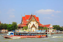Bangkok Riverside Scene And Tourism Boat Stock Images