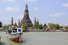Bangkok Riverside Scene And Wat Arun Royalty Free Stock Photos