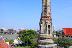 Bangkok Riverside Scene And Wat Arun Royalty Free Stock Photo