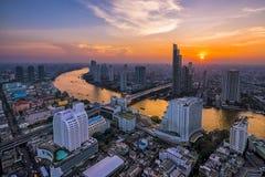 Bangkok Riverside. Shoot From Top Of The Buildinn Stock Photos