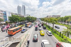 Bangkok road with a lot of cars and traffice jam. Wide angle view of transportation in Thailand metro 14 October 2016 Royalty Free Stock Images
