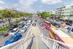 Bangkok road with a lot of cars and traffice jam. Wide angle view of transportation in Thailand metro 14 October 2016 Royalty Free Stock Photo