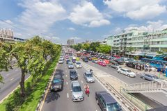 Bangkok road with a lot of cars and traffice jam. Wide angle view of transportation in Thailand metro 14 October 2016 Royalty Free Stock Photos