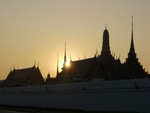 Bangkok Royal Palace. Silhouette of the bangkok royal Palace at dawn Stock Image
