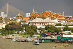 Bangkok royal palace. View on Bangkok royal palace, chao phraya river and rama VIII bridge, Thailand Stock Images
