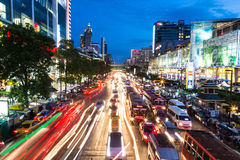 Bangkok rush hour at night. Bangkok, Thailand - August 9 2014: Cars are stuck in heavy traffic during the evening rush hours in Pratumwan district of Bangkok Stock Photography