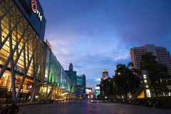 Bangkok's central world Night. CENTER WORLD is divided into three parts, the left-right three parts, one is more familiar Isetan - a Japanese trading company Stock Image