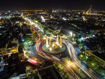 Bangkok`s democracy in aerial view. Bangkok`s democracy monument with colorful lines of car traveling from the looking of above stock images
