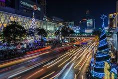 Bangkok shopping mall illuminated at night. Night illumination of Christmas and New Year celebration 2015 at Central World shopping mall, Ratchaprasong Stock Photo