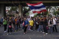 Bangkok Shutdown: Jan 14, 2014. Bangkok, THAILAND: Anti-government protesters at the Royal Thai Police Headquarters, RAMA I road, nearby the Central World (CTW) Stock Photography