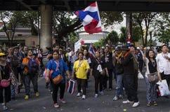 Bangkok Shutdown: Jan 14, 2014. Bangkok, THAILAND: Anti-government protesters at the Royal Thai Police Headquarters, RAMA I road, nearby the Central World (CTW) Royalty Free Stock Image