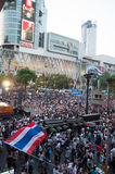 Bangkok shutdown 2014. BANGKOK THAILAND - FEBRUARY 2 : Unidentified protesters gather Ratchaprasong intersection to anti government and not voting in the day of stock photos