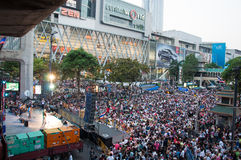 Bangkok shutdown 2014. BANGKOK THAILAND - FEBRUARY 2 : Unidentified protesters gather Ratchaprasong intersection to anti government and not voting in the day of stock image