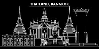 Bangkok silhouette skyline. Thailand - Bangkok vector city, thai linear architecture, buildings. Bangkok line travel. Bangkok silhouette skyline. Thailand royalty free illustration