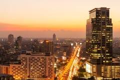 Bangkok sky line at sunset, Bangkok, Thailand. Stock Photo