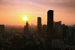 Bangkok Skyline cityscape with sunset Royalty Free Stock Photos