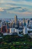 Bangkok skyline. With huge public park Stock Photos