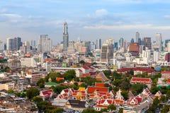 Bangkok skyline Landscape temple, Bangkok city Thailand. Bangkok skyline Landscape, modern building and  temple with sky and clouds. Bangkok city Thailand Stock Photos