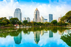 Bangkok Skyline, Thailand. Bangkok skyline from Lumphini Park, Thailand Stock Photo
