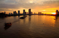 Bangkok skyline in the morning. With ship Stock Images