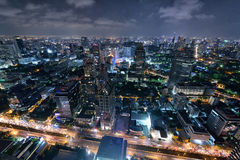 Bangkok-Skyline nachts Lizenzfreies Stockbild